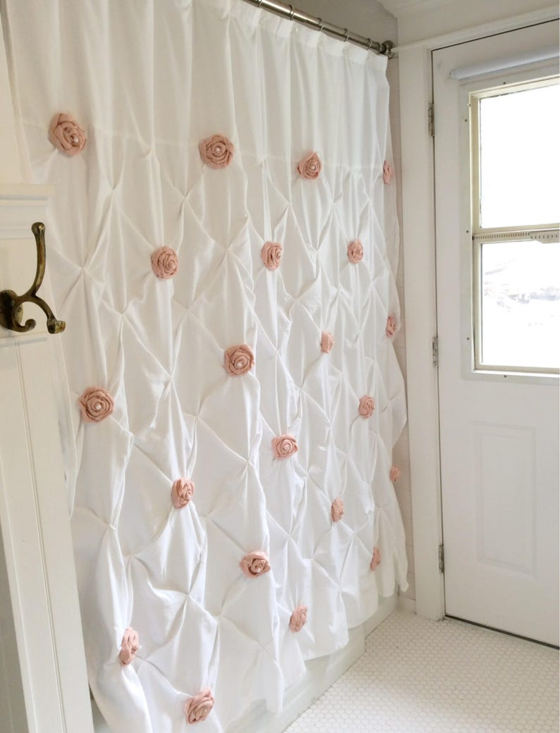 Pin Tuck Shower Curtain With Handmade Pink Rosettes And Pearls