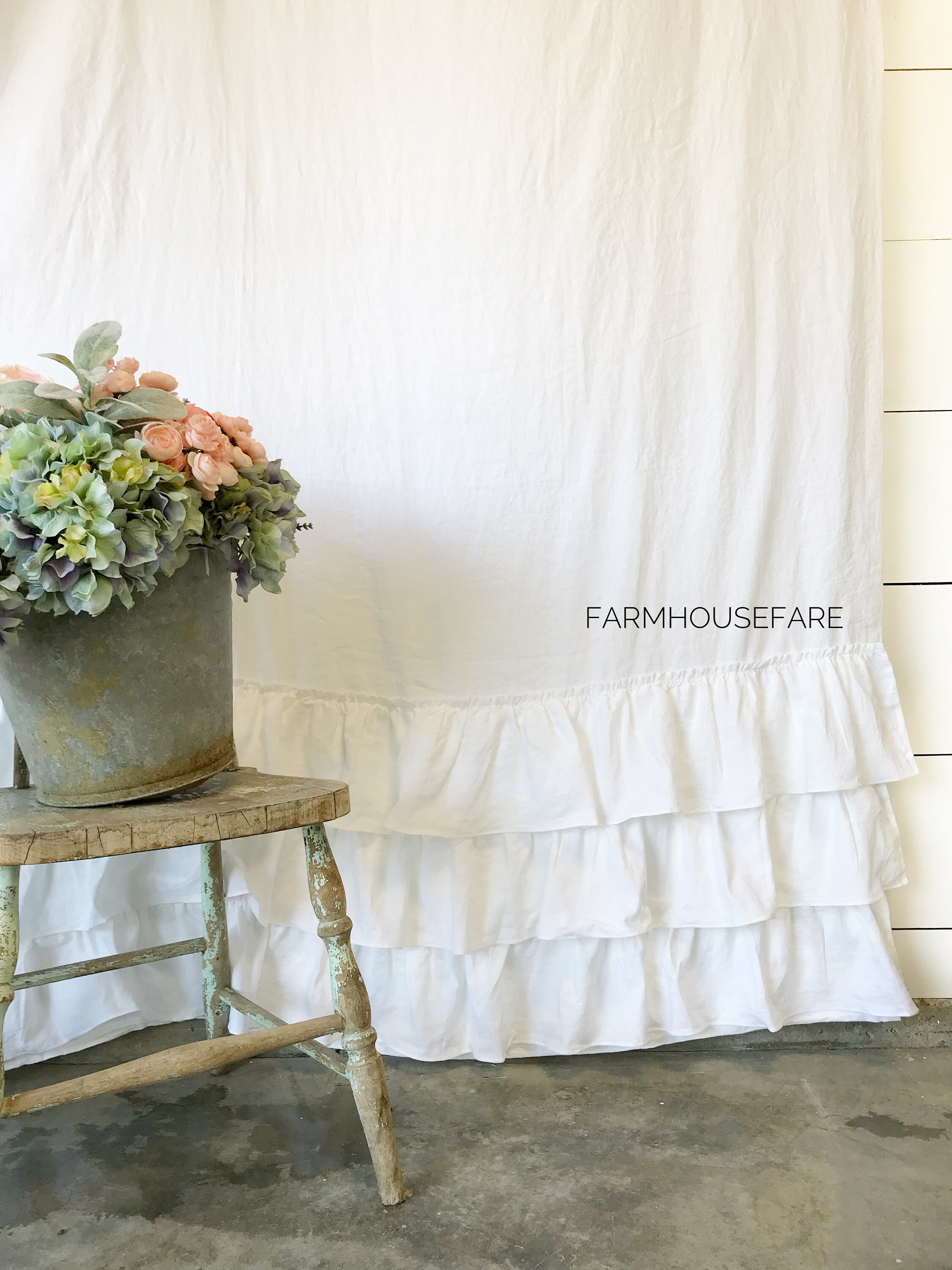 White Farmhouse Linen Shower Curtain Four Ruffle Shower Curtain Shabby Chic Farmhouse Bathroom Girls Bathroom Curtain Read Description