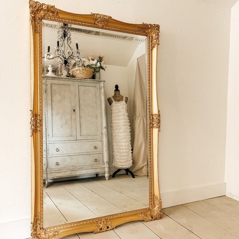 Large Gold Leaning Mirror French Country Wall Hanging Etsy