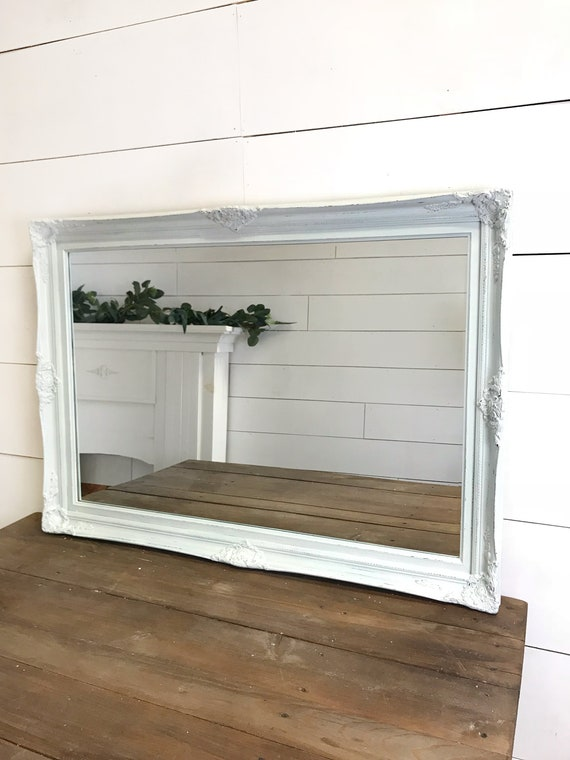 Bathroom Wall Decor, Farmhouse Wall Mirror, Shabby Chic Home Decor, Large  Blue Mirror, Wall Decor, Wood Framed Mirror Free Shipping