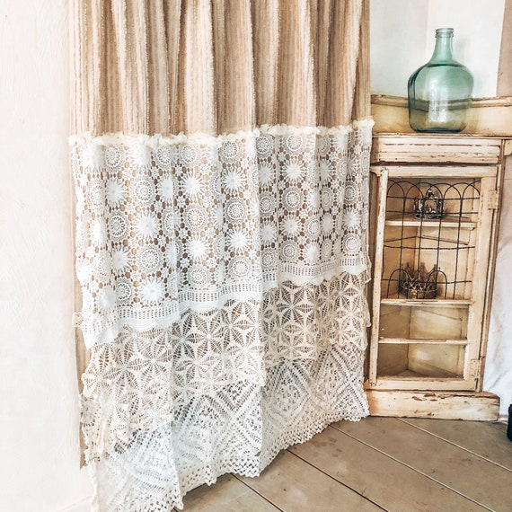 Farmhouse Chic Shower Curtain Crochet Shower Curtain Burlap Etsy