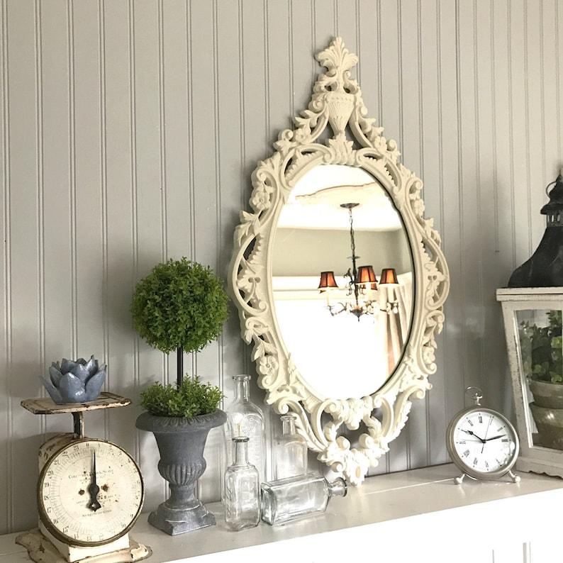 51da3cbbfdc81 Ornate Oval Wall Mirror Large Distressed Baroque Shabby