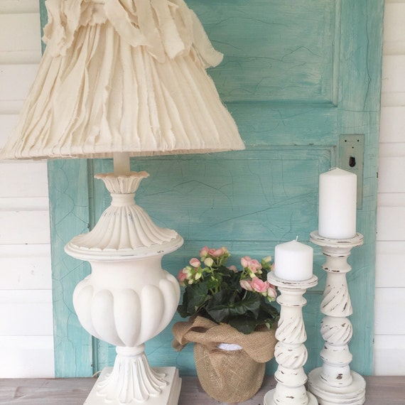 Shabby Chic Table Lamp White Farmhouse Lamp Bedroom Light Etsy - Shabby chic table lamps for bedroom
