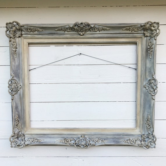antique wood frame living room decor large hand painted etsy