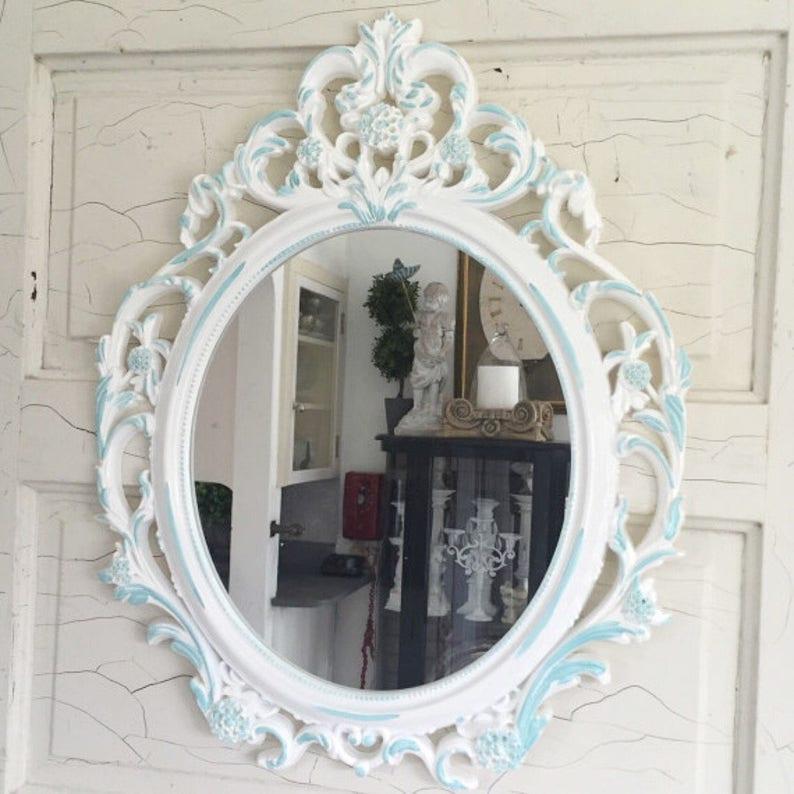 77ebcc81fcb03 Shabby Chic Mirror . Bathroom Mirror White  Blue Wall Hanging