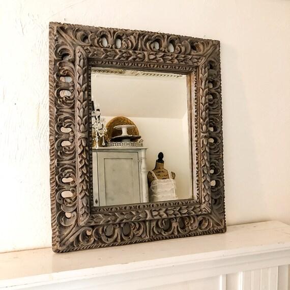Wood Framed Mirror Bathroom Wall Decor Farmhouse Decor Grey Etsy