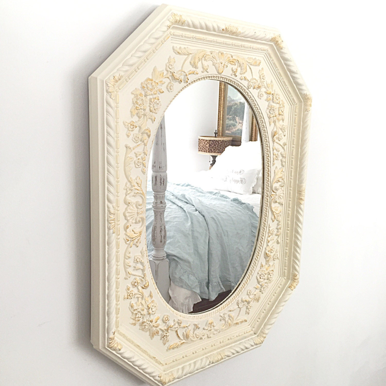 Bathroom Mirror Shabby Chic Mirror Wall Hanging Mirror Etsy