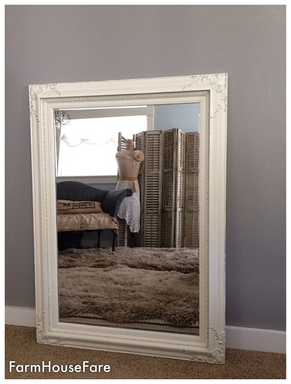 Large Baroque Wall Mirror, Antique White and Silver, Ornate Frame, Leaning  Mirror, Living Room Wall Mirror, White Mirror, Large Mirror