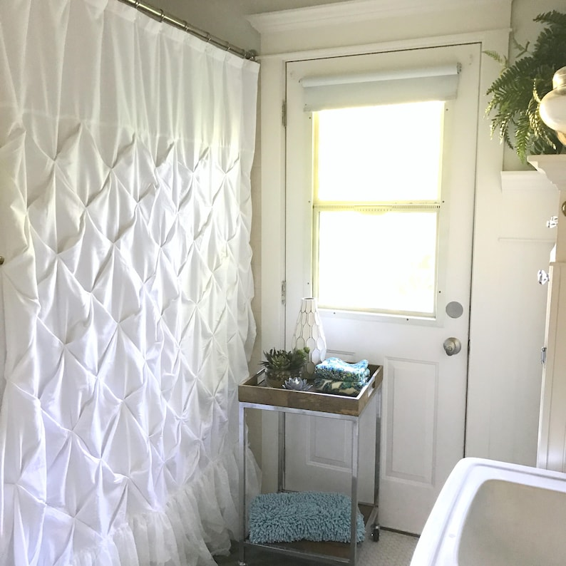 Extra Long Shower Curtain White Pin Tuck Lace Ruffle Shabby
