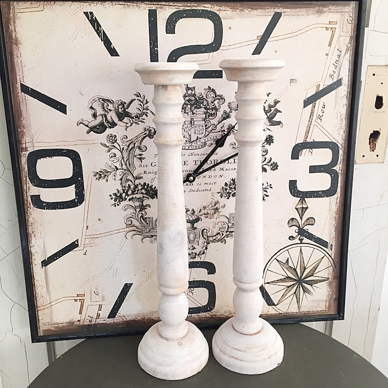 French Candle Holders Tall White Wash Wood Mantle Candle Etsy