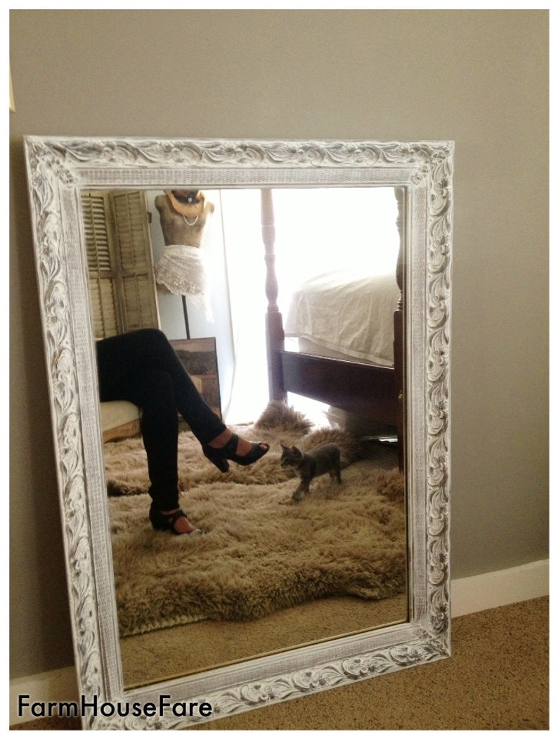 6259089c3a013 Large Wall Mirror Shabby Chic White Chalk Paint Ornate