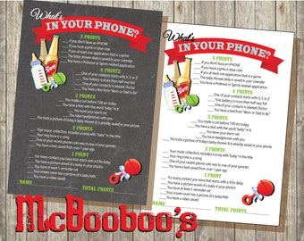 "Chalkboard Bottles & Beers ""what's in your phone?"" baby shower game INSTANT DOWNLOAD"