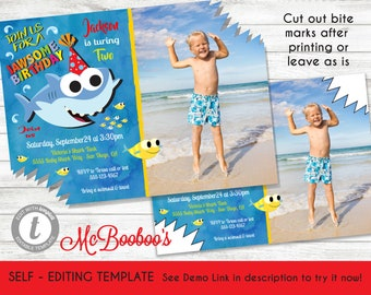 BOY Baby Shark Birthday Party Photo Invitation Template Printable Invite INSTANT DOWNLOAD Editable Text With Of Your Child