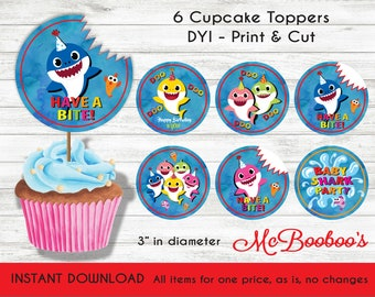 Baby Shark Song Birthday Party Cupcake Toppers INSTANT DOWNLOAD As Is No Changes