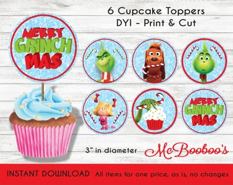 Christmas Cupcake Toppers Free Printable.Grinch Cupcake Etsy