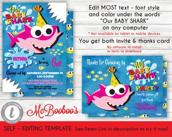 Baby Shark Song Birthday Party Invitation Template Printable