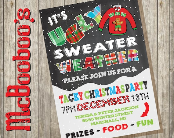 83b678c11d Ugly Tacky Christmas Sweater Party Invitations on a snowy