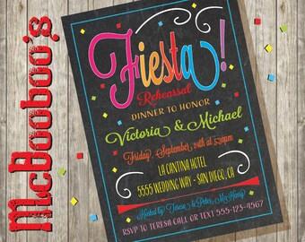 Chalkboard Mexican Fiesta Rehearsal Dinner Invitations