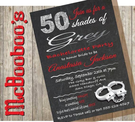 50 Shades Of Grey Bachelorette Party Invitation On A Etsy
