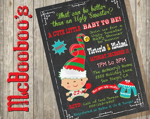f35a64f649 Ugly Christmas Sweater Baby shower Invitations on a chalkboard