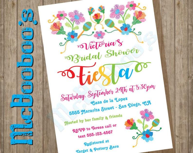 ba1cdb8f44f6 Folk art Mexican Fiesta Embroidered Bridal Shower Invitations