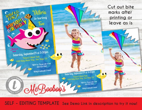 GIRL Baby Shark Birthday Party Photo Invitation Template