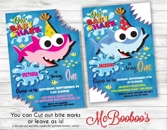 Baby Shark Song BIrthday Party Invitation Or Thank You Note