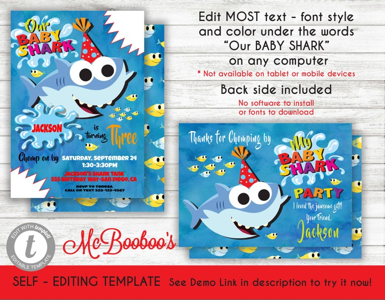 Baby Shark Song Birthday Party Invitation Template Printable Invite INSTANT DOWNLOAD Editable Text With Thank You Note Card Templett