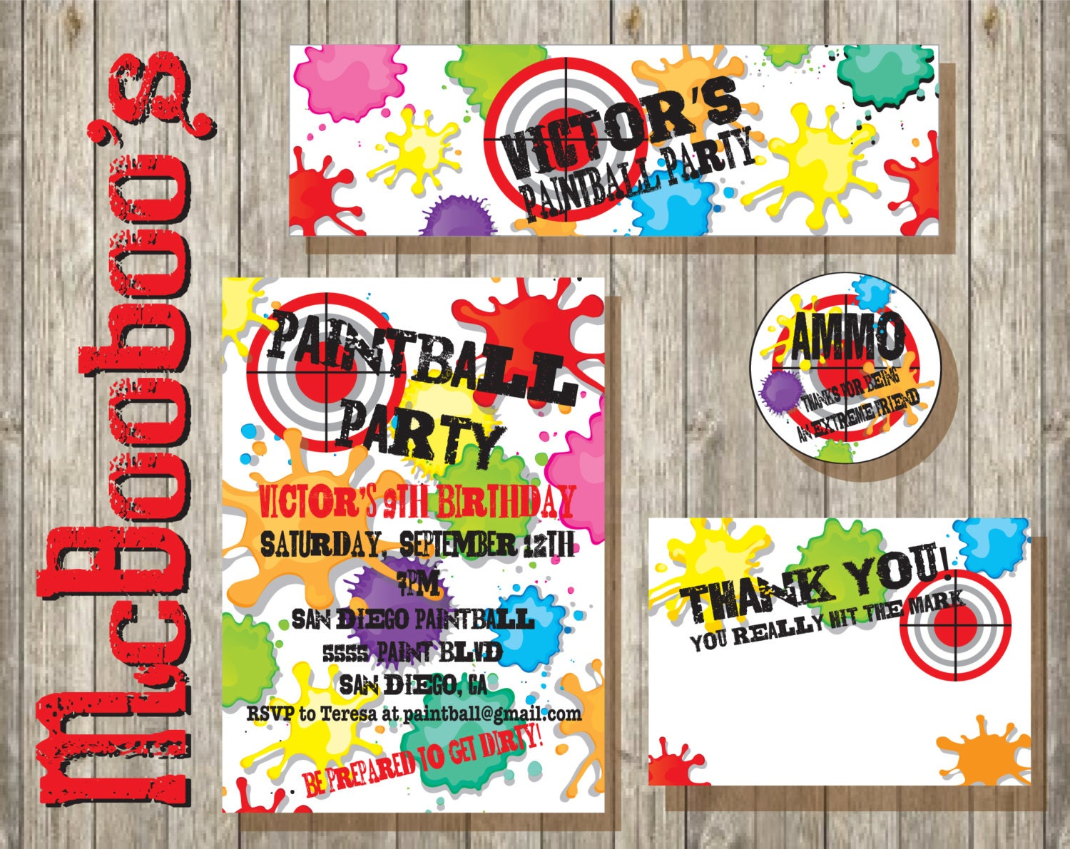 Paintball Birthday Party Package With Invitation Thank You