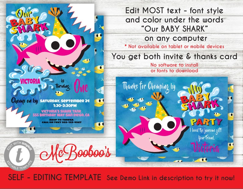 Girl Baby Shark Birthday Party Invitation Template Printable