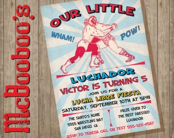 Wrestling Lucha Libre Luchador Birthday Party Invitation in Poster style