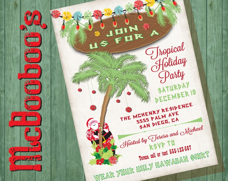 7af92825f3 Tropical Beach Palm Tree and Santa Christmas Holiday Party