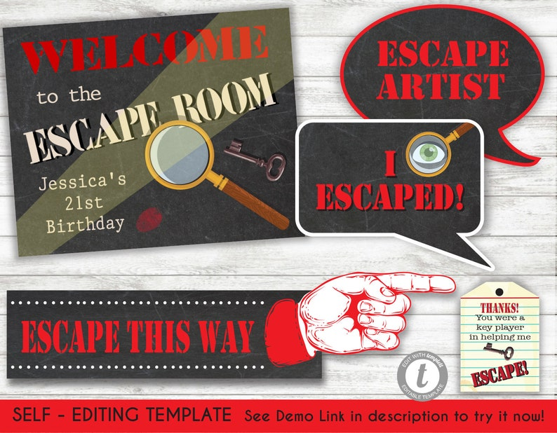 photograph relating to Escape Room Signs Printable titled Escape House Spy props and social gathering signs or symptoms /reward tags Template, Printable Invite, Instantaneous Down load, Editable phrases,
