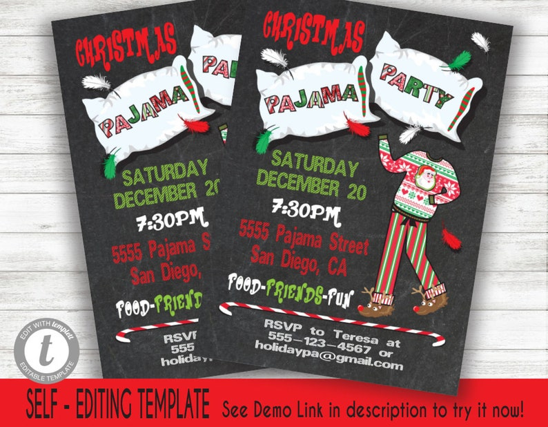 d68253448d Christmas Pajama Party with pillow on a chalkboard background