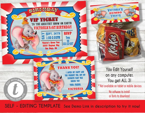 Dumbo Movie Birthday invitation, thank you note card, candy bag topper  Template, Printable Invite, INSTANT DOWNLOAD, Editable text, templett