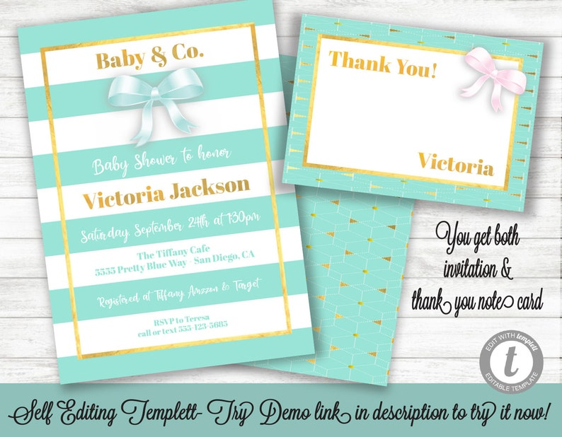 Baby Co Shower Invitation And Thank You Note Card Template Printable Invite INSTANT DOWNLOAD Editable Text Tiffany Blue Gold
