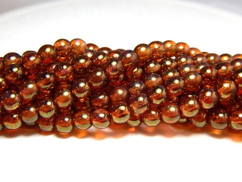 Kralen en sieraden Creatieve hobby's 75 Gold Topaz Czech Glass Pearl Beads 6MM