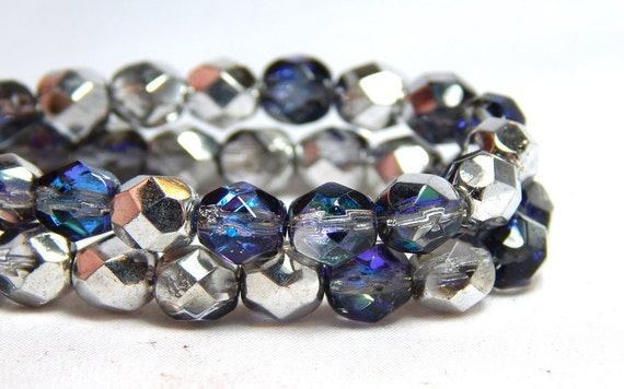 50 Purple Mix Hurricane Glass Faceted Beads 6MM