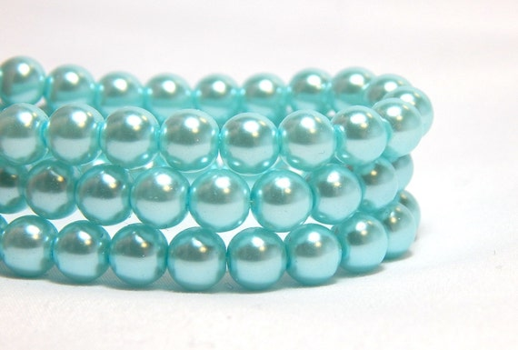 jewellery making 100 beads Teal 6mm Glass Faux Pearls