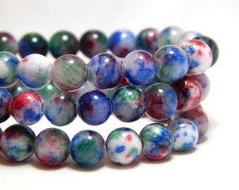 6mm Candy Jade, 6mm Mountain Jade, Speckled Jade, Mulitcolor Jade, Multicolor Candy Jade, 6mm Mulit-color Beads, Colorful Beads, B-55E