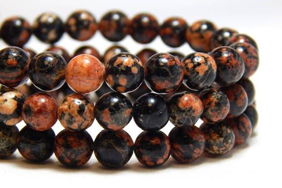 4mm Red Snowflake Obsidian Gemstone Beads Small Round Black Full Strand B-22A