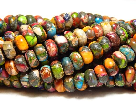 8x5mm Sky Eye Jasper Rondelles Gemstone Beads Full Strand Multicolor B-32C