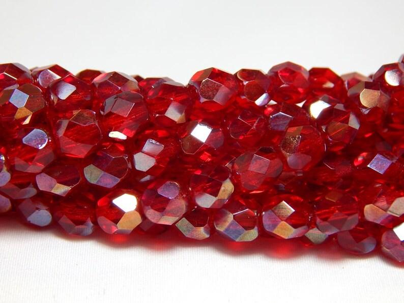 Bronze Luster Opaque Red 25 6mm Czech Glass Firepolish Beads