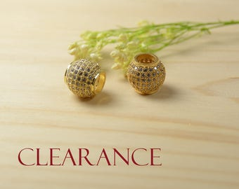 SALE! Micro Pave Ball, 11mm, Clear Cubic Zirconia Ball, 5.5mm Hole, CZ Round Spacer, Gold Plating, Tarnish Resist Ball, RETAIL-2 Pcs/order
