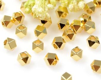 Diamond Cut Beads, 4mm, Gold Beads, Tarnish Resistant Beads, Lead Free, Brass Beads, Large Hole Beads, 2mm
