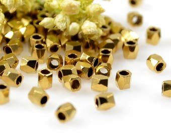 Diamond Cut Beads, 2.5mm, Brass Rice Beads, Solid Brass Beads, 1.5mm Hole