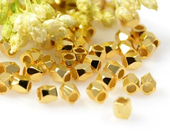 Diamond Cut Beads, 2.5mm, Gold Rice Beads, Tarnish Resistant Beads, Lead Free, Solid Brass Beads, 1.5mm Hole