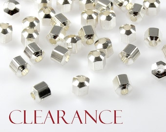 CLEARANCE - Hexagon Spacer Beads, 4mm, Hexagon Bead, Solid Brass, Sterling Silver Plating, Tarnish Resistant, 1.5mm Hole, 100 PCS/ order