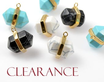 CLEARANCE - Pointed Hexagon Pendant, White Marble, Black Marble and Turquoise Pendant, Tarnish Resistant Gold Frame