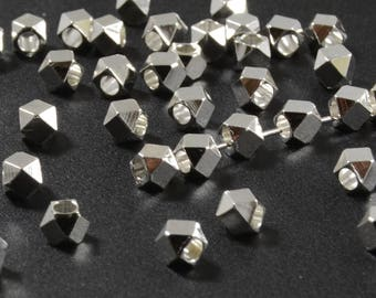 Diamond Cut Beads, 3mm, Silver Spacer Beads, Tarnish Resistant Beads, Lead Free, Brass Beads, Large Hole Beads, 1.8mm Hole